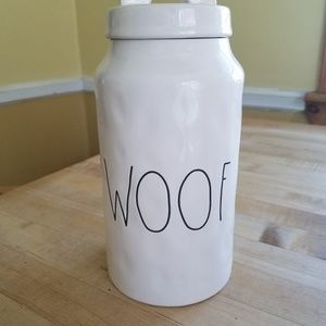 Rae Dunn Woof Canister for Dog Biscuits